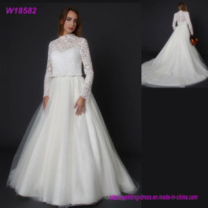 Wholesale Wedding Dress A Line Ladies Gown Tulle Trailing Bridal Dress Lace Ball Gown pictures & photos
