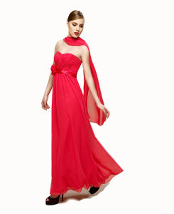 Wholesale Cheap Pleats Strapless Evening Dress with a Bow Waist and Long Flowing Scarf pictures & photos