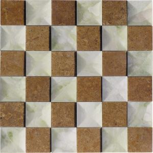 Chinese Stone Mosaic Shana Beige Marble Mosaic Tile pictures & photos