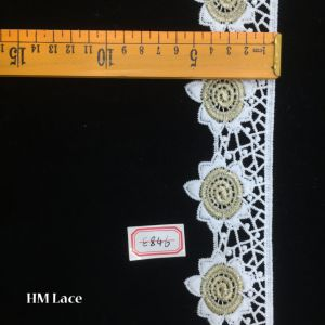 5.5cm Light Gold Embroidery Lace Bridal Wedding Dress Appliques Patches Hme846 pictures & photos