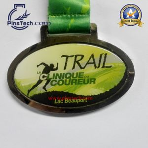Customized Run Medal with Antique Silver Finish Relief Silk Screen Ribbon pictures & photos
