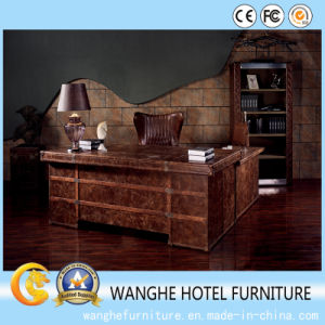 Hotel Luxury Leather Furniture Computer Desk Writing Table with Storage pictures & photos