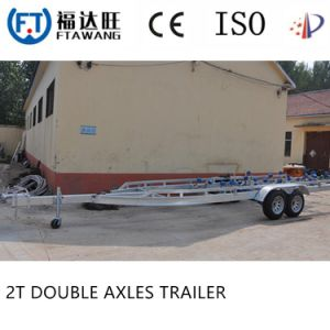 Galvanizing Single Yacht Boat Trailer with Roller Double Axles Boat Trailer pictures & photos
