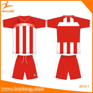 Healong Customized Sublimation Wholesale Colorful Stripe Line Soccer Set pictures & photos