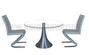 Modern Round Temper Glass Top with Stainless Steel Foot Dining Table (NK-DT027) pictures & photos