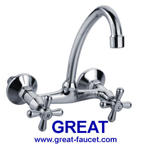 Dual Handle Wall-Mounted Kitchen Faucet (GL048X10C) pictures & photos