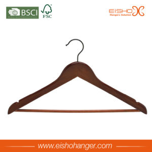 Brown Wooden Suit Hanger with Round Bar (WL8013Y) pictures & photos