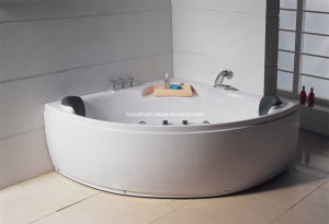 White Acrylic Sanitary Whirlpool Massage Bathtub (M-03) pictures & photos