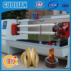Gl--702 China Factory BOPP Scotch Adhesive Log Roll Tape Cutting Machine pictures & photos