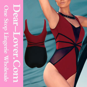 Red Black Mesh Cutout Teddy Swimwear pictures & photos