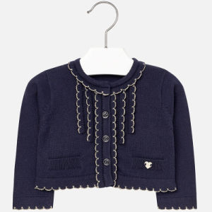 Girls Texture Scallop Edge Cardigan pictures & photos
