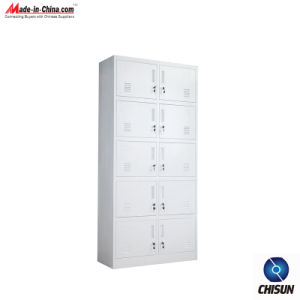 Metal Folio Ten Door Office Clothes Cabinet Hs-016