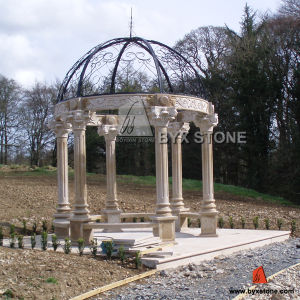 G682 Yellow Granite Garden Gazebo with Cast Iron Roof pictures & photos