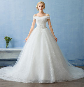 2017 Hot Sale off Shoulder Real Photo Wedding Dress with Bowknot pictures & photos