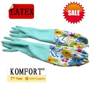 Long Cuff Blue Household Latex Washing Glove (JMC-395E) pictures & photos