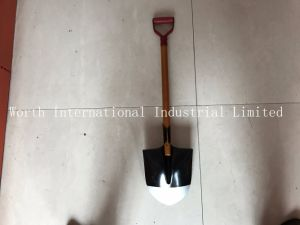 Red Grip Brown Wood Handle Shovel pictures & photos