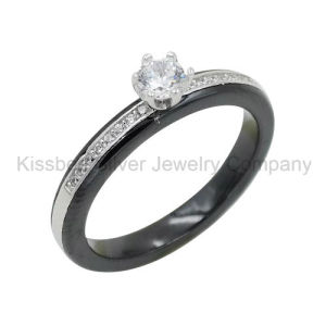 925 Silver Jewellery with Ceramic Ring, Prongs Setting Jewelry (R21127) pictures & photos