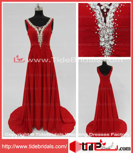 Red Wedding Party Gown Pleat Straps Beading Court Train Chiffon Evening Dress Prom Dress (KMLY1)