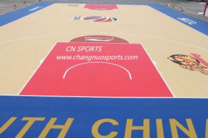 Wood Grain Basketball Court Rubber Flooring with Visual Sand Patent Surface pictures & photos