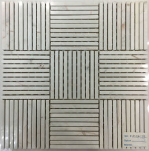 New White or Black Thin Stipe Marble Mosaic Tile pictures & photos