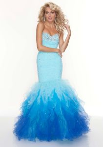 Latest Fashion Style Ruffled Organza Mermaid Prom Dresses (PD3023) pictures & photos
