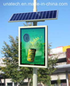 Solar Power Outdoor Street Lamp Pole Advert Banner LED PVC Light Box pictures & photos