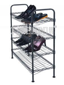 Powder Coating Black 4 Layers Adjustable Shoe Cabinet DIY Slanted Shoe Rack pictures & photos