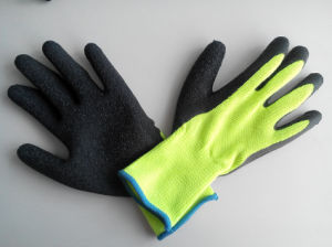 10g High Grade Polyester Shell Latex Coated Crinkle Safety Work Glove with Thumb Coating (L1102) pictures & photos