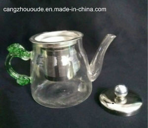 Hot Selling Green Handle Clear Glass Teapot with Cover pictures & photos