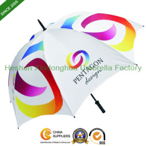 Cheap Manual Fiberglass Promotional Golf Umbrellas with Printed Logos (GOL-0027F) pictures & photos