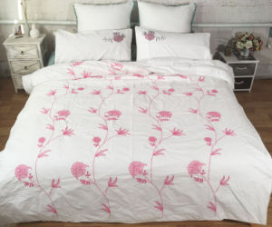 Snow Red Fllower Full Embroidery Bedding Set pictures & photos