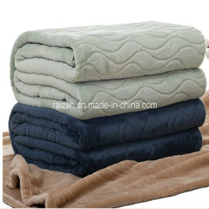 Pure Color Coral Fleece Blanket Embossing Blanket pictures & photos
