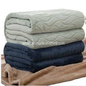 Pure Color Coral Fleece Blanket Embossing Blanket