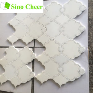 Polished Artifical White Marble Waterjet Mosaic Patterns for Walls pictures & photos