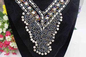 Metal Beads Boho Beaded Tube Applique Trim Collar Neckline Motif (TA-007) pictures & photos