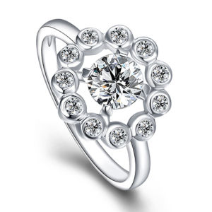 Silver Fashion Wedding Ring with Zircon (Ring-0150)