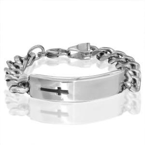 Engravable Mens ID Bracelet with Black Cross