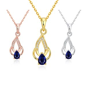 Fashion Drop Shape Zircon Pendant Necklace Eco-Friendly Copper Rose Gold Necklace pictures & photos