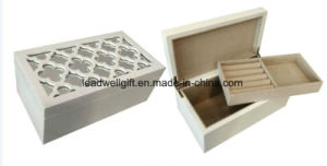 High Gloss White Wood Carving Flower with Mirror Jewelry Case Box pictures & photos