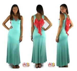 2013 Pastel Plus Size Mint Bow Back Fashion Ladies Maxi Dresses (HSS-847)