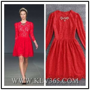 New Fashion Ladies Long Sleeve Sweet Lace Cocktail Dress