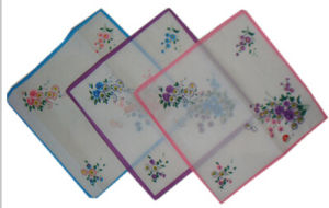 Beautiful Ladies 100% Cotton Flower Print Hanky pictures & photos