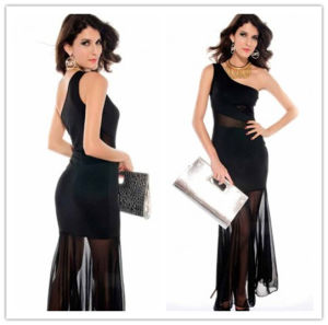 Hot Sale Column Chiffon with One Shoulder Ruched Black Sexy Party Dresses (MQ1015) pictures & photos