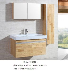 Bathroom Furniture Oak Wood Cabinet with Mirror Cabinet