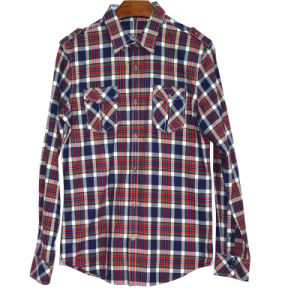Men′s Flannel Plaid Long Sleeve Shirt (XDL15013)