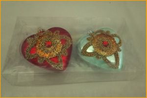 Two Kinds Hand Made Glass Heart Ornaments pictures & photos