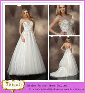 Hot Sale Full Length a-Line Boat Neckline Cap Sleeves Backless Court Train Beaded Turkish Wedding Dresses (MD10011)