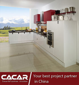 Ice Day Romantic White Stoving Varnish Lacquer Kitchen Cabinet (CA11-01) pictures & photos