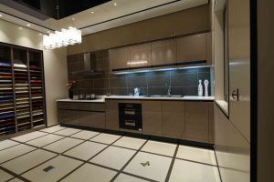 Brown High Gloss Polyurethane Handless Kitchen Design pictures & photos