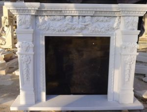 White Marble Fireplace Frame for Living Room (Dynasty White Marble)